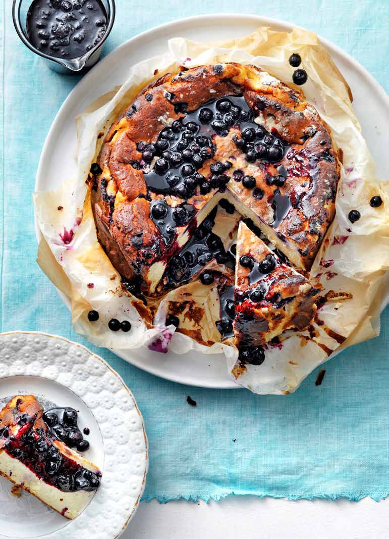 Burnt Basque cheesecake with blueberries