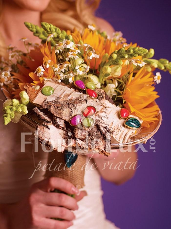 buchet de mireasa de vara, floarea soarelui