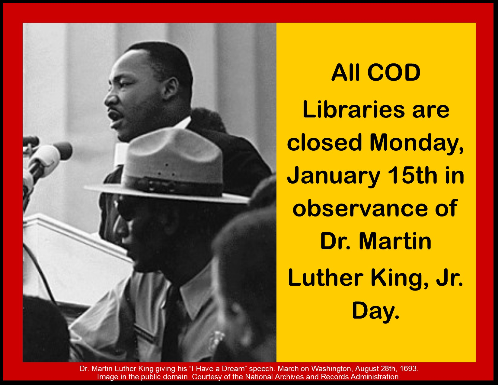 COD Libraries closed January 15in honor of MLK Jr Day