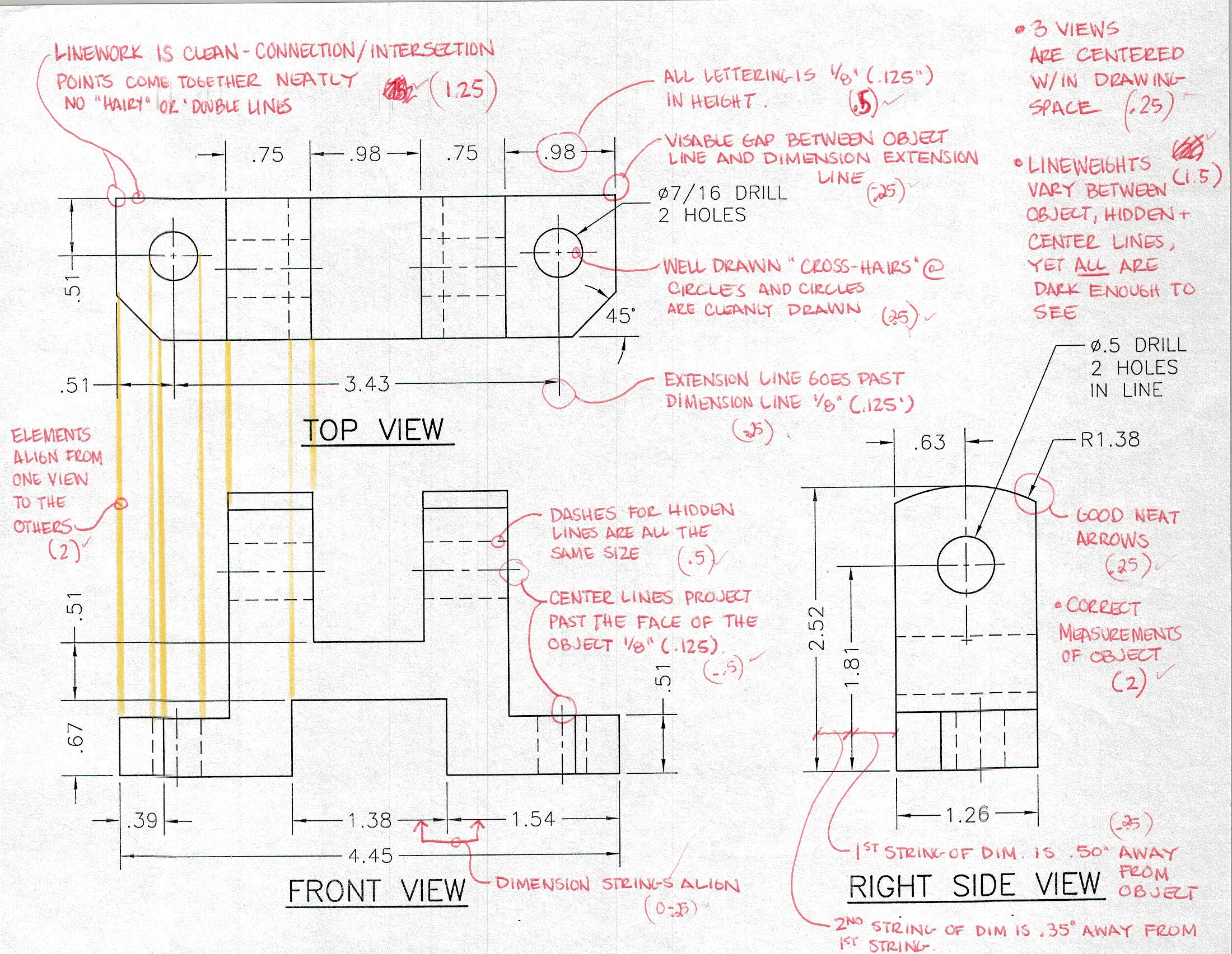 3 Multi View Orthographic Projection Drawing