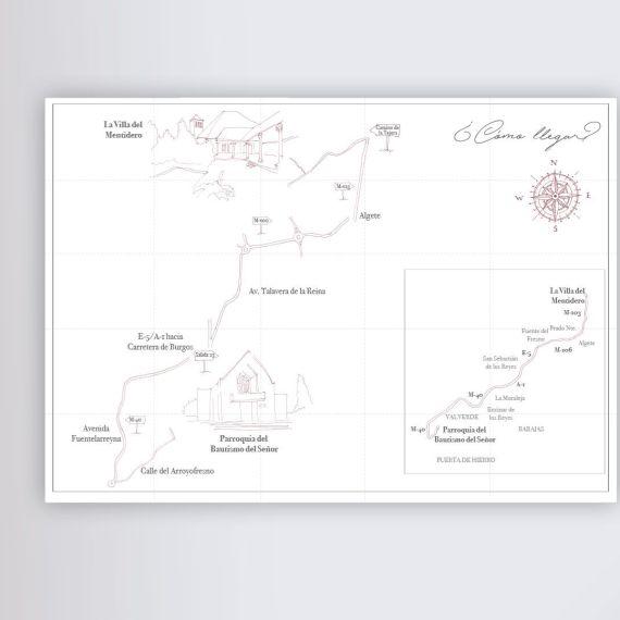 mapa dibujo linea boda invitación