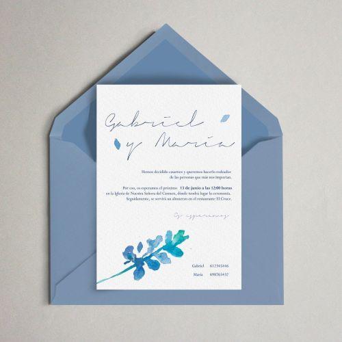 flor hojas azul boda invitación