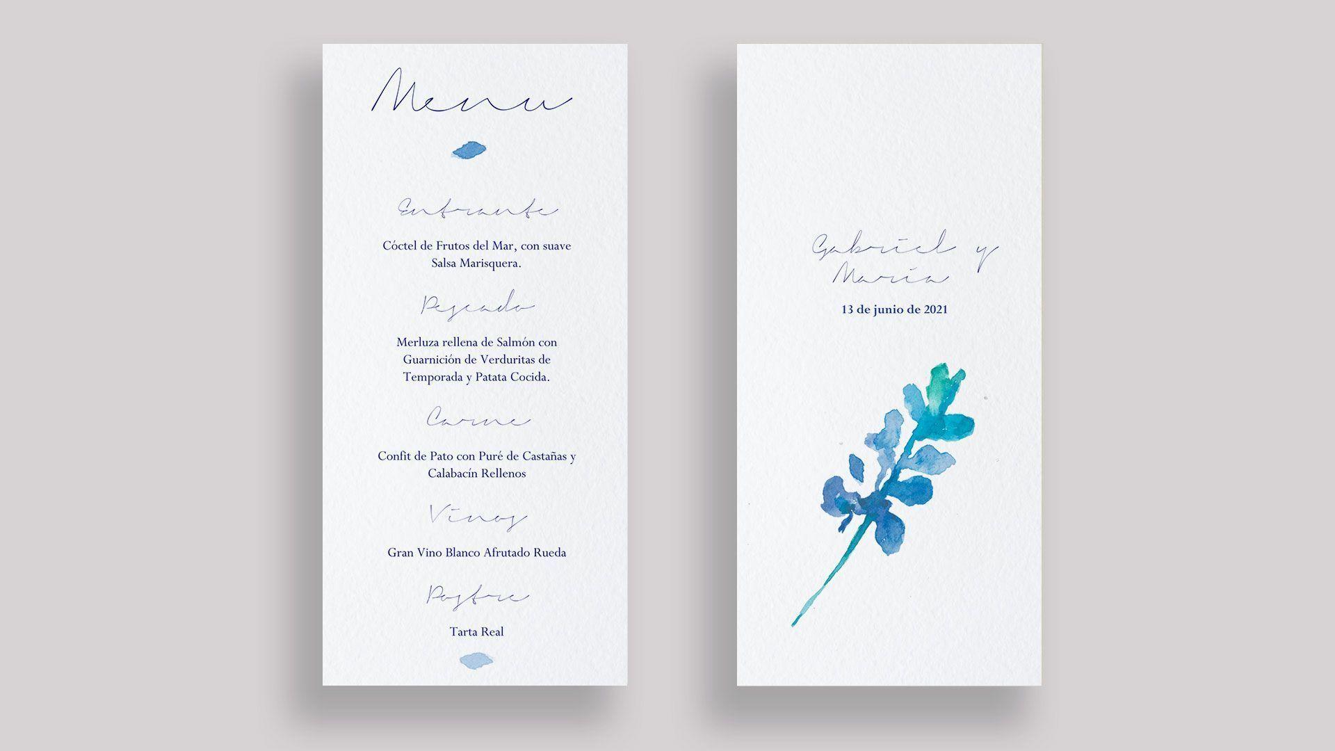 menu flor hojas azul boda minuta