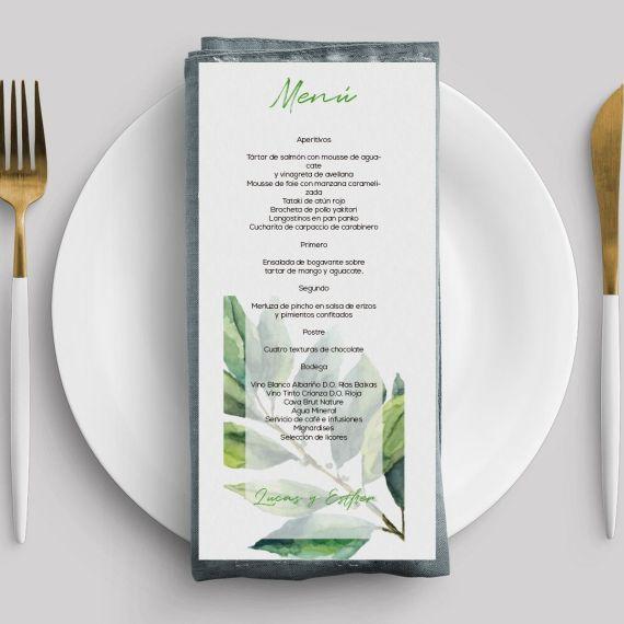 menu verde hoja invitación boda