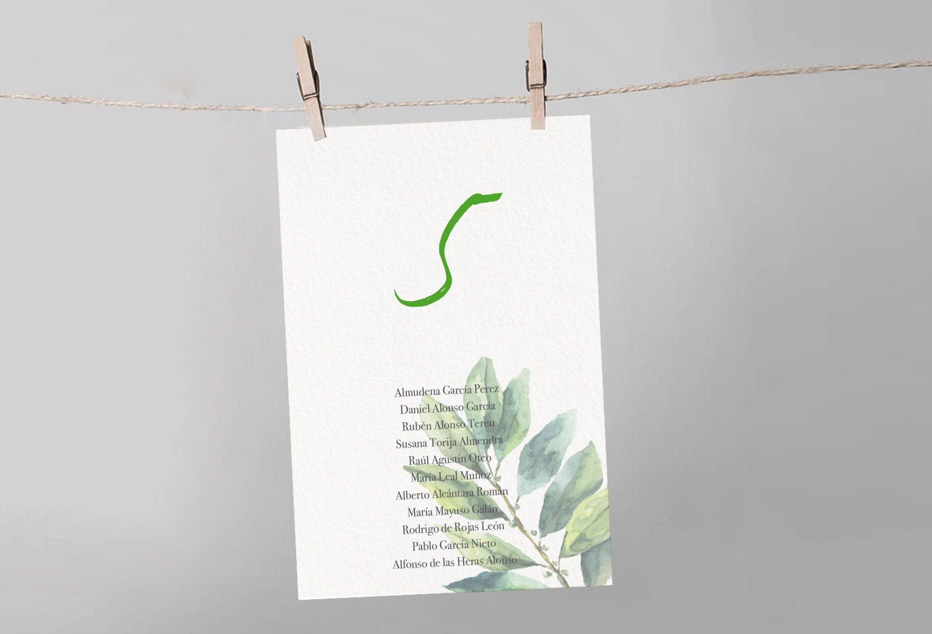 seating verde hoja invitación boda