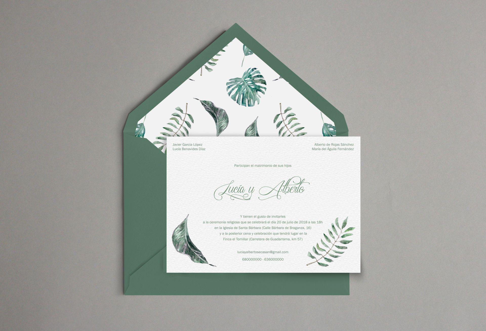 invitación hojas verde
