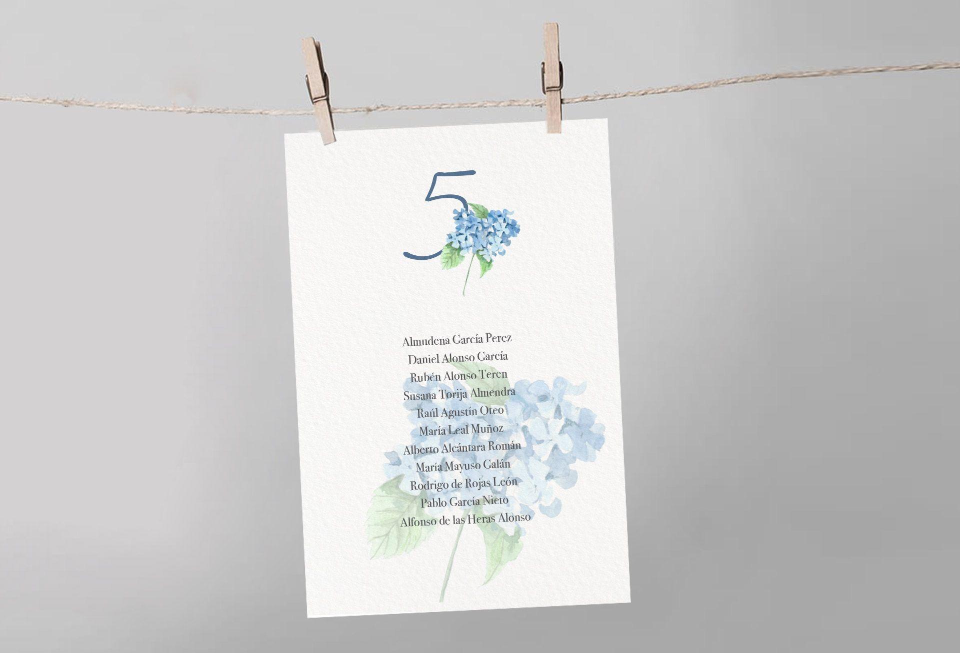 seating boda mesa hortensia azul flor