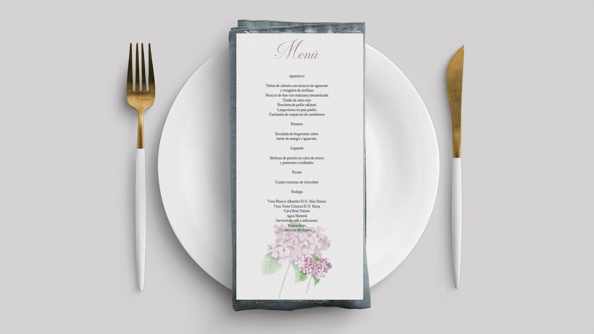 menu hortensia rosa boda