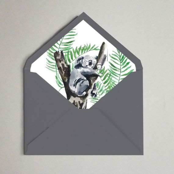 sobre invitacion koala boda bambu