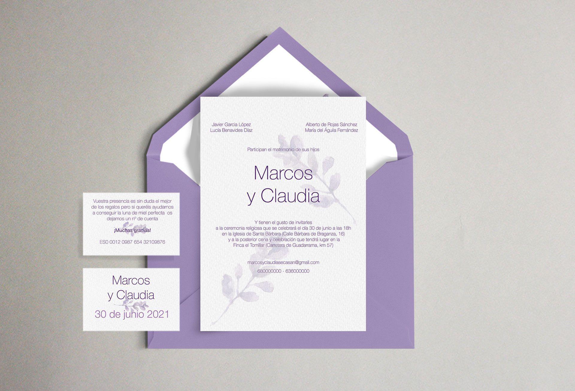 Invitación lavanda flor morada boda