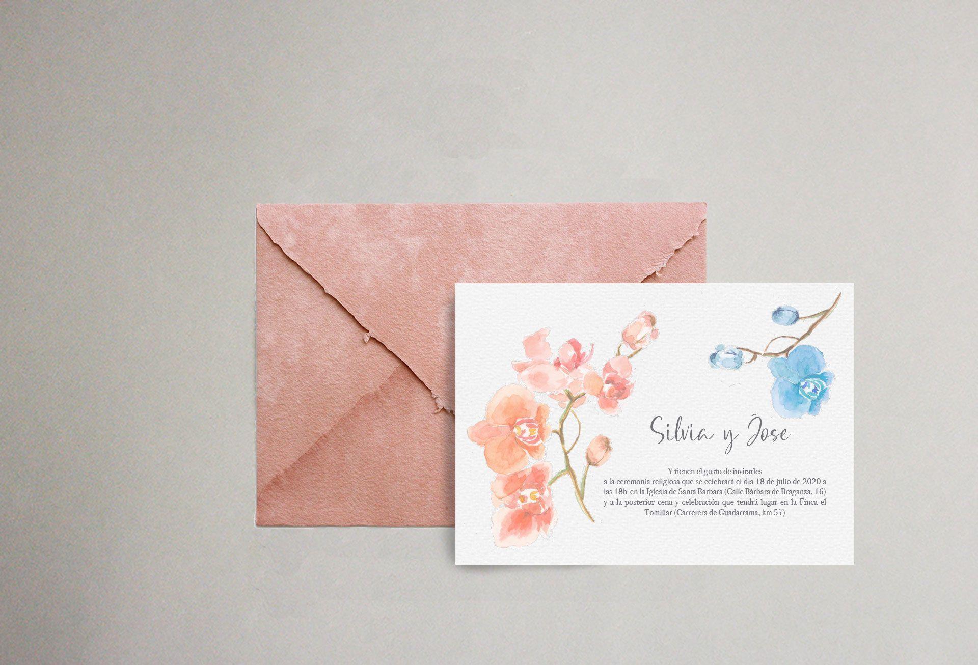 Invitacion de boda con acuarela de orquideas y sobre artesanal