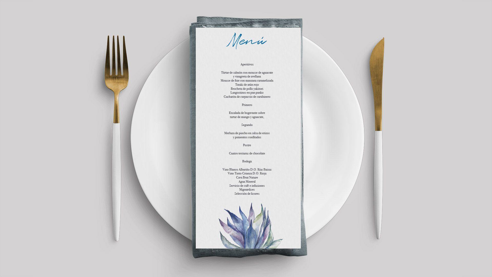 invitación boda cactus mexico minuta menú