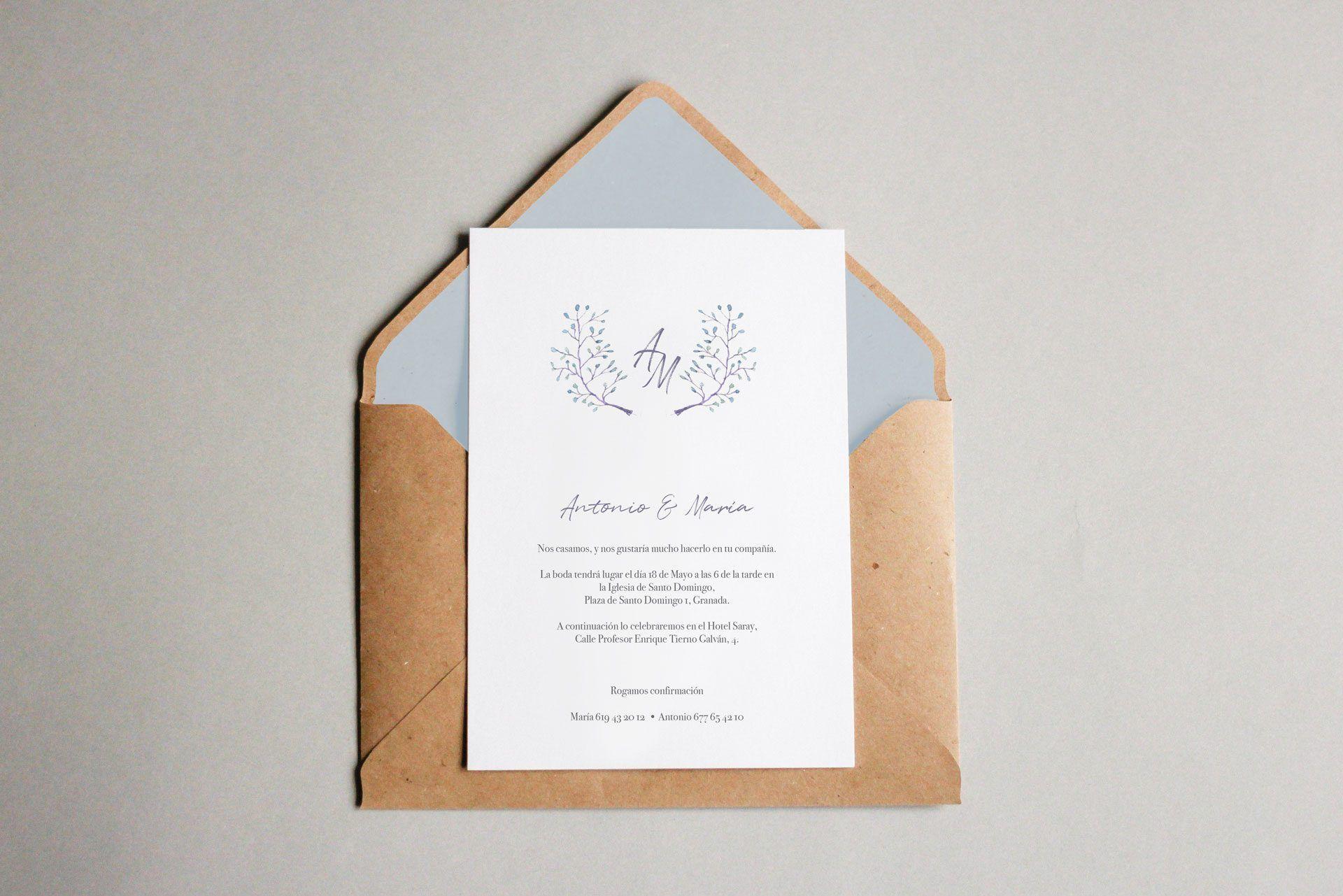 la invitacion elegante y a medida de antonio y maria