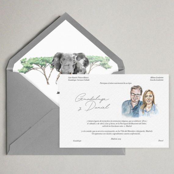 invitacion con retrato y sobres forrados artesanal boda sudafrica