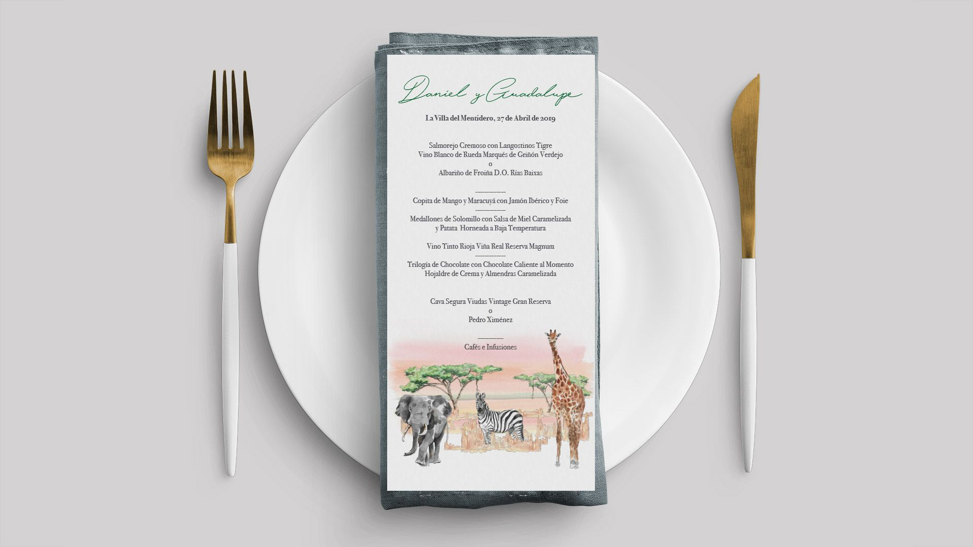 menu minuta africa boda acuarela