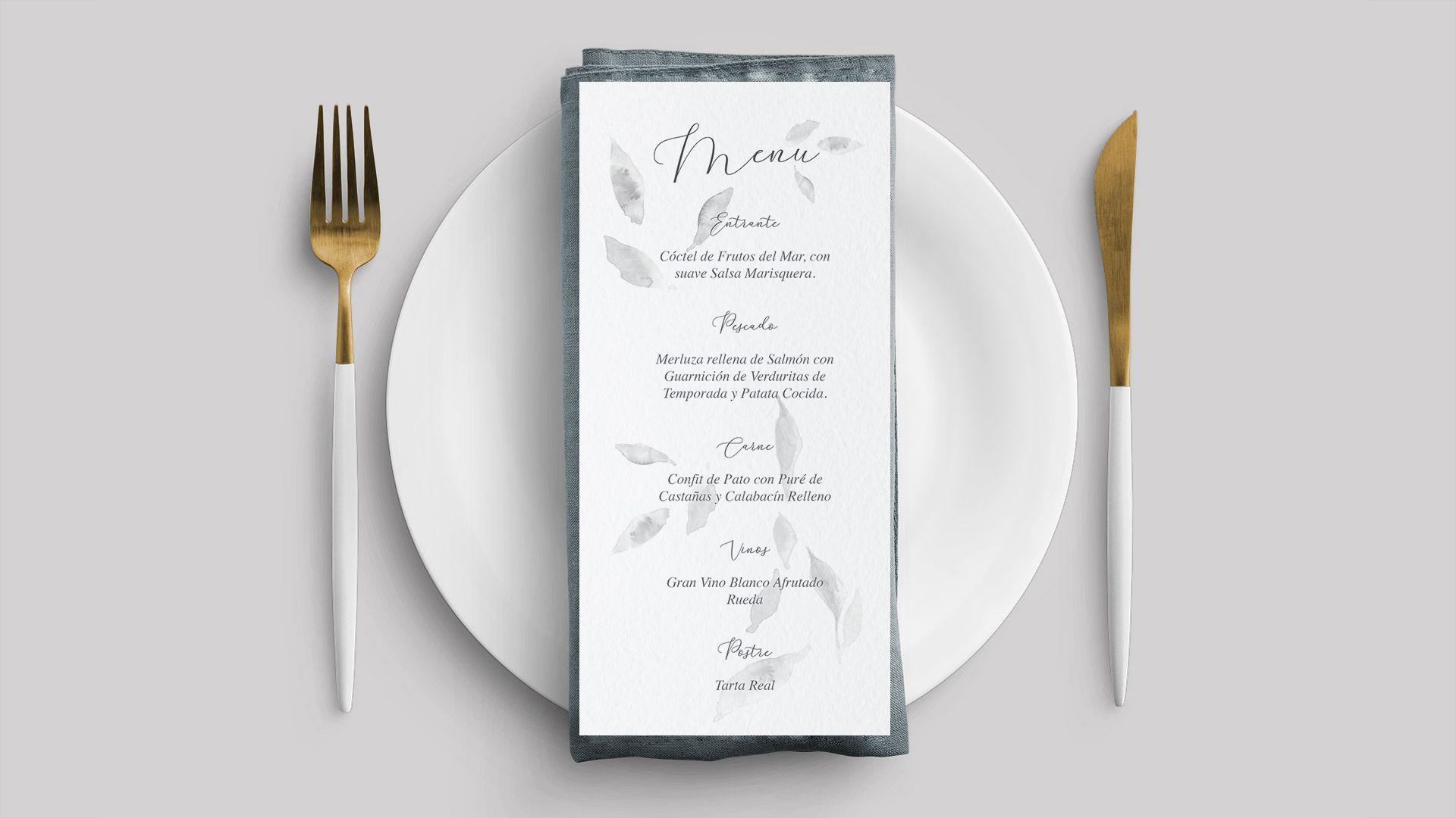 invitación de boda elegante acuarela de hojas grises