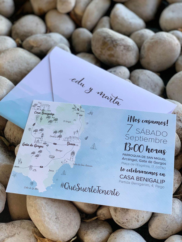invitación mapa personalizada