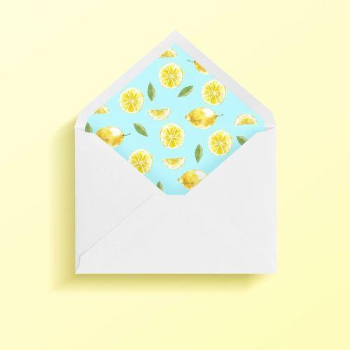 sobre forrado limon para invitaciones de boda originales y únicas