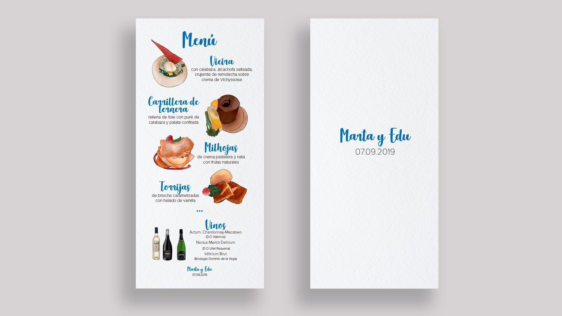 menu personalizado boda ilustraciones