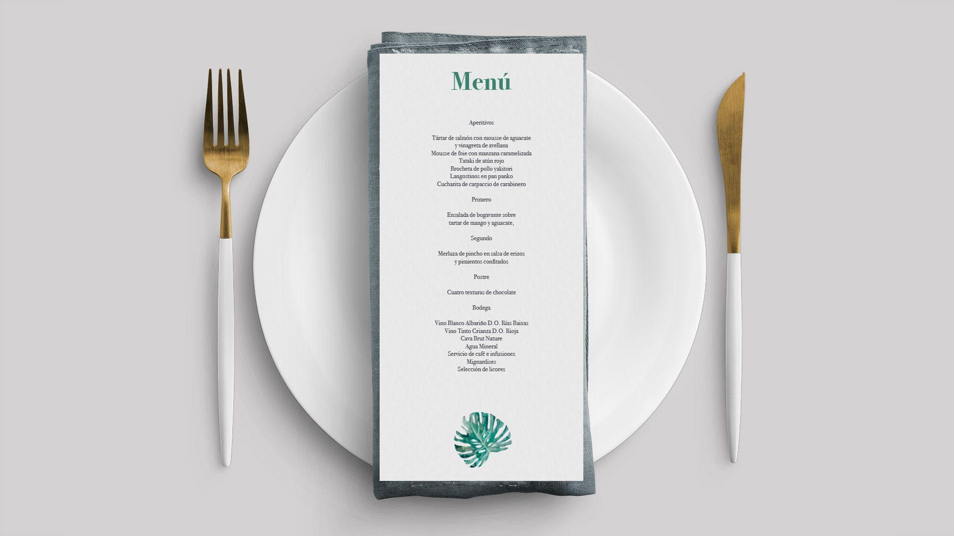 menu montsera hoja boda