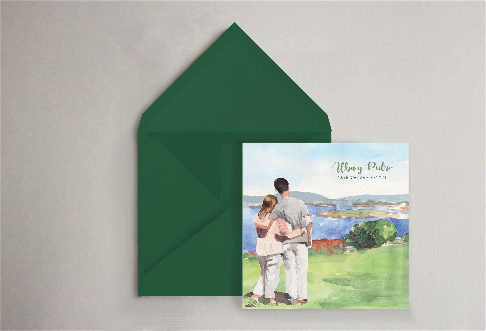 invitación personalizada retrato en el mar verde olivos