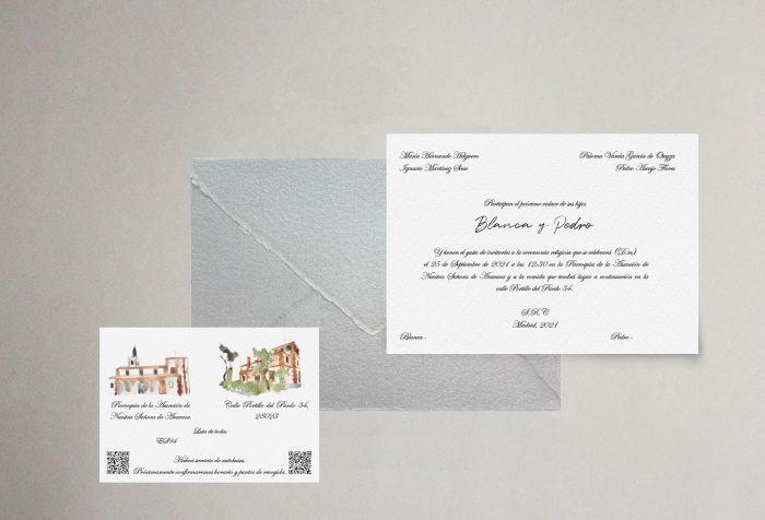 invitación personalizada retrato elegante artesanal