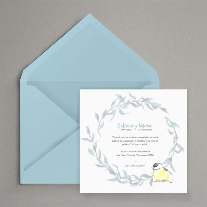 invitacion de boda personalizada acuarela delicadade pajaros