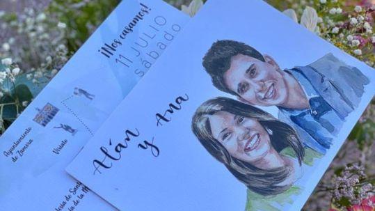 boda con retrato personalizado, Alan y Ana