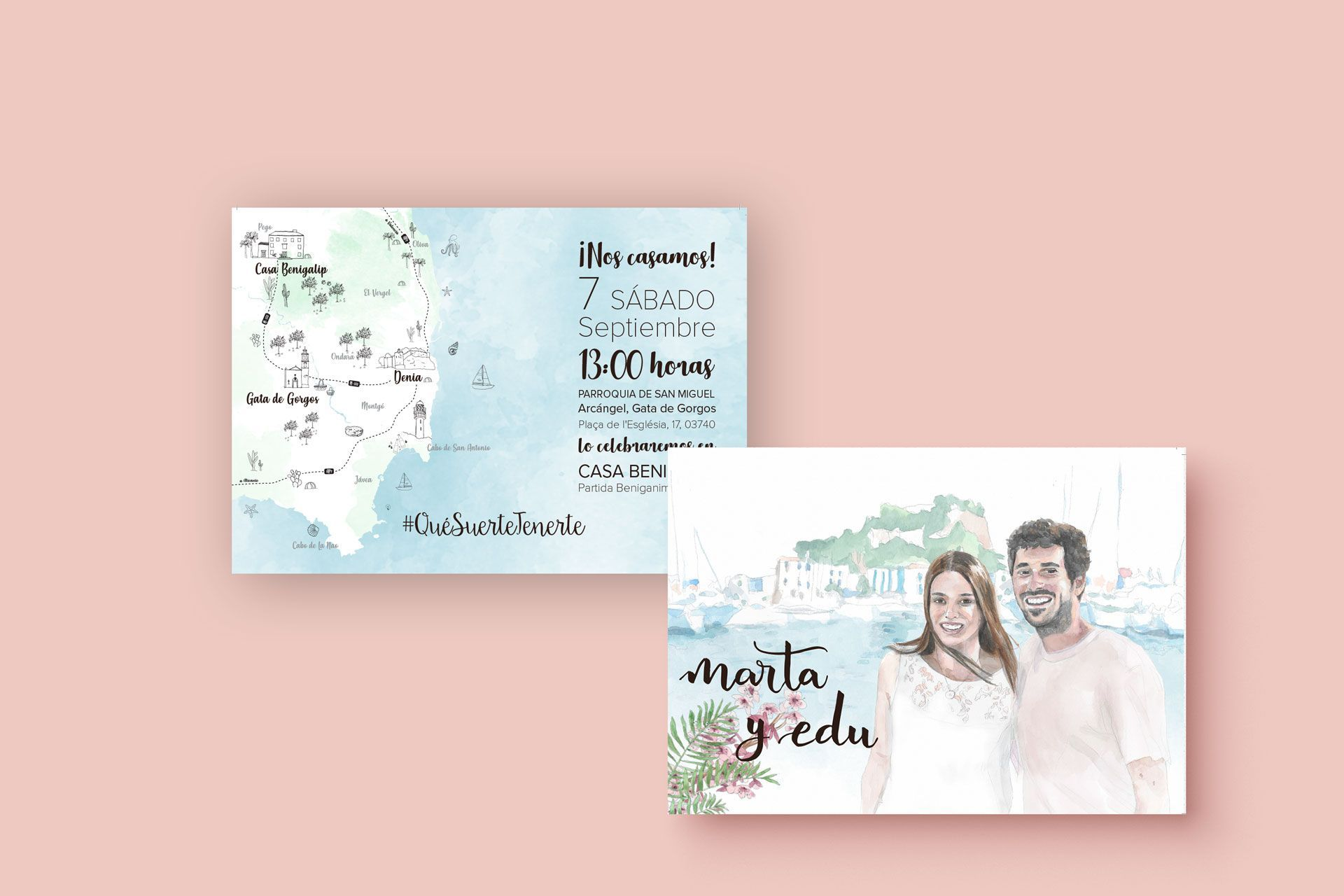 invitacion personalizada con acuarela de novios y mapa