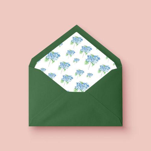 invitacion de boda acuarela hortensia azul sobre forrado