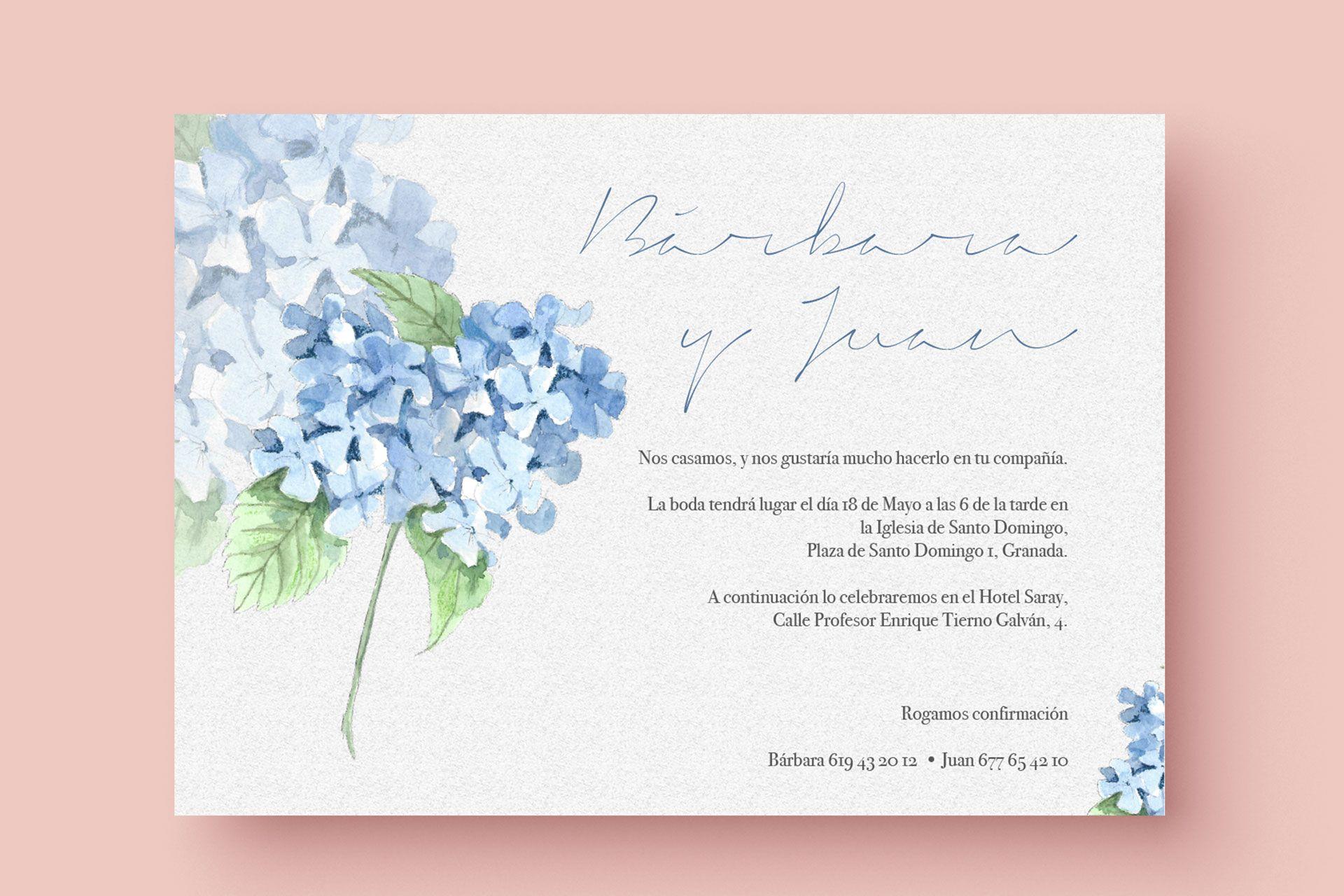invitacion de boda acuarela hortensia azul