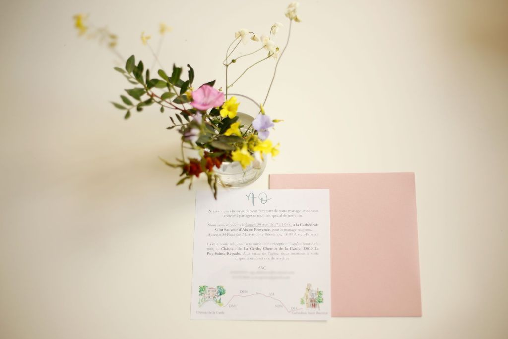 invitacion boda acuarela alberto y olga con lettering