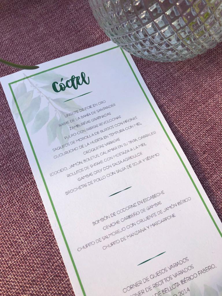 minutas de boda con lettering