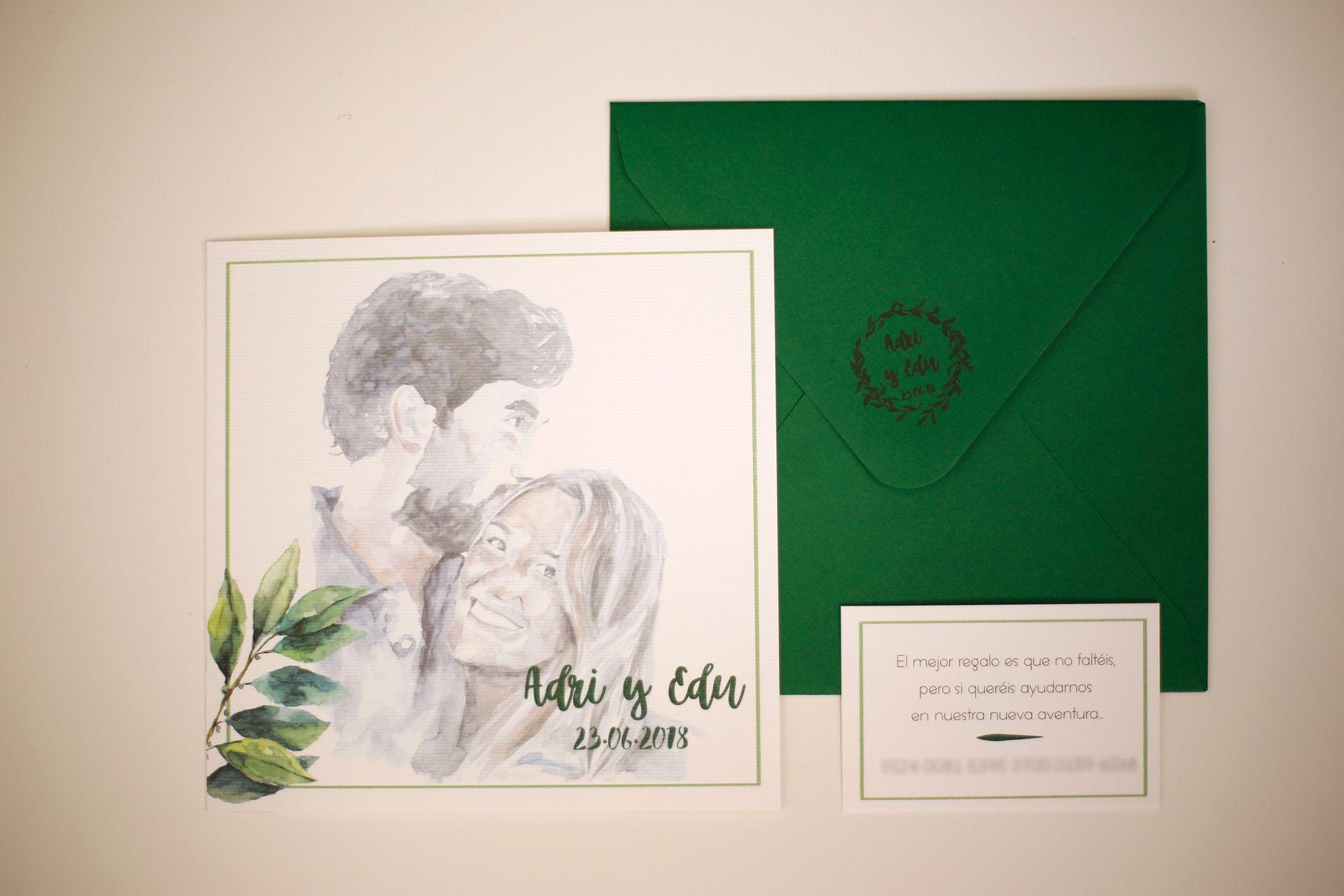 invitacion personalizada retrato acuarela y lettering