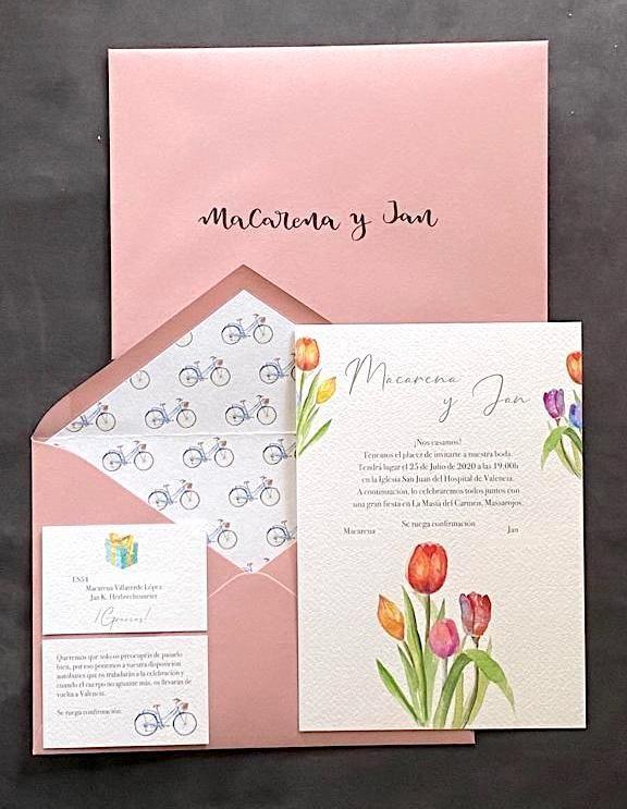 invitación tulipanes bicicletas