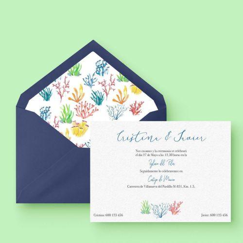 invitación de boda fondo marino elegante en acuarela