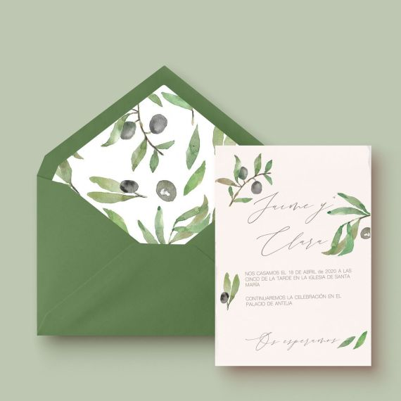 invitación de boda olivo con sobre forrado