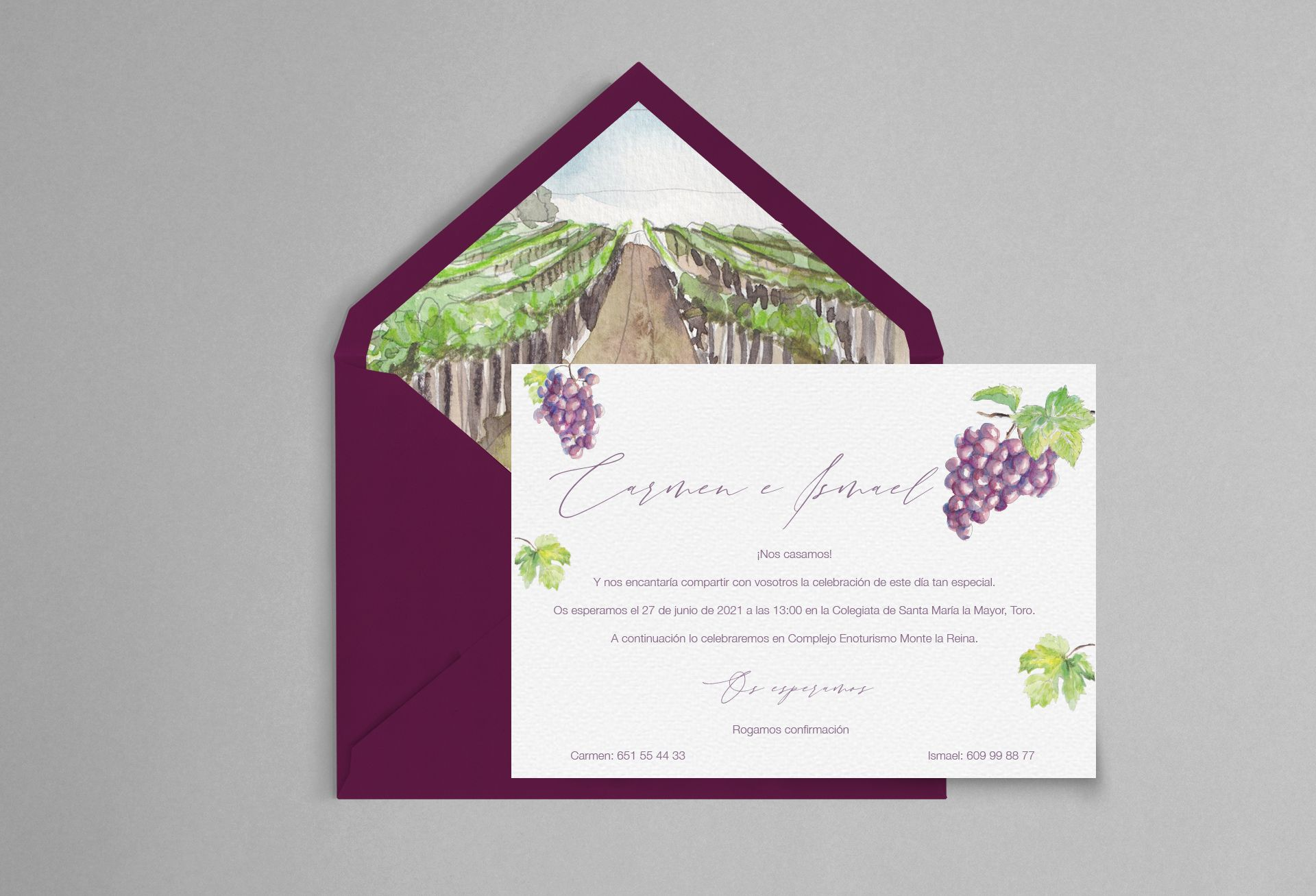invitacion de boda con acuarela de uvas y viñedo