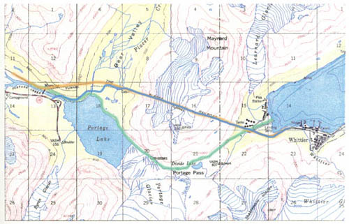 map showing approximate prospectors route