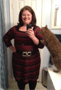 Kitty likes my new dress size. And really, who wouldn't? I just need some more lbs to come off below the waist, then it's new wardrobe time!