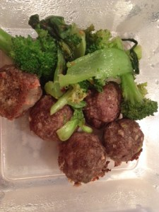 Leftovers for my hubby's lunch! This little meatball dish turned out very tasty although it is a lot of points.
