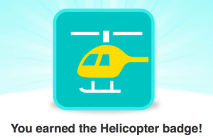 Woohoo! I earned my helicopter badge for going up 500 stairs.
