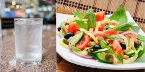 """Are you sure you are hungry? You might just be thirsty. """"Glass of Water with Ice Cubes"""" courtesy of taesmileland. """"Vegetable Salad with Basil"""" courtesy of Apolonia. Images from FreeDigitalPhotos.net."""