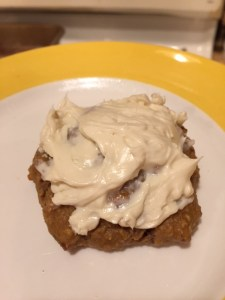 Maple Pecan Drop Scone with Buttercream Cheese Frosting! This puppies are healthy and go great with coffee in the morning.