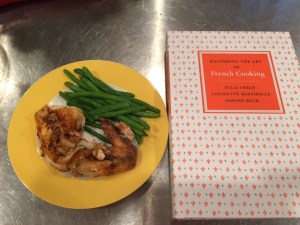 My first attempt with a Julia Child recipe. I opted for roasted chicken and it was the best tasting chicken I've eaten. I served it with a side of my second Julia Child recipe -- butter green beans. Double yum!