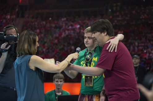 Kaci Aitchison, BigDaddy-N0tail and Chuan before the TI5 All Star Match
