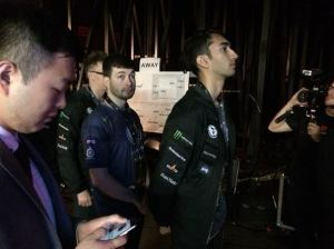 Evil Geniuses getting ready to go up on The International 5 stage