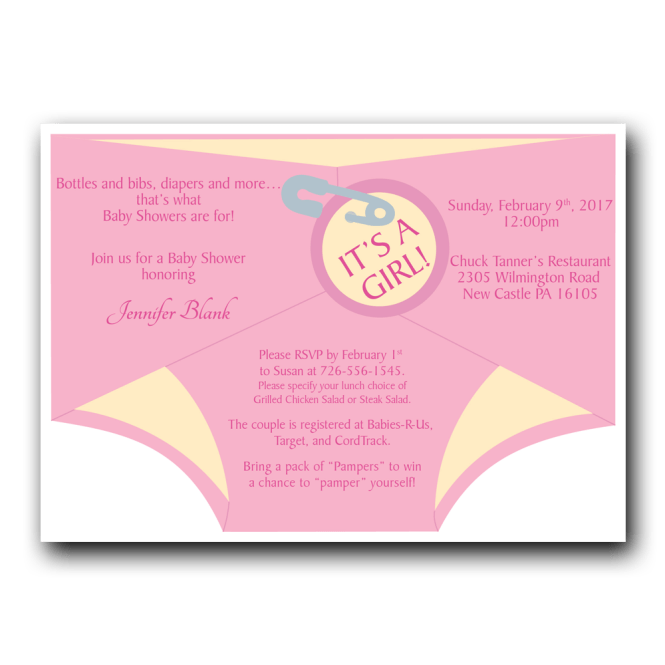 Diaper Shower Invitation Pink Dot And Bow