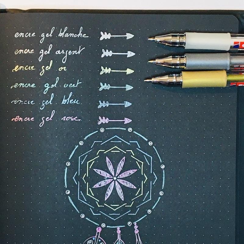 stylo gel bullet journal encre metallique