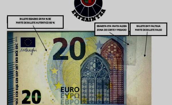 Se han detectado billetes falsos en Bizkaia FOTO: Ertzaintza